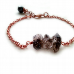 Herkimer Diamond Rose Gold Chain Bracelet, Rose Gold Plated, Semi Precious
