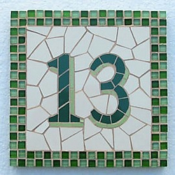 Mosaic house number, variety of sizes and colours available