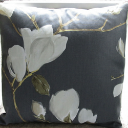 "Dark Grey Magnolia Cushion Cover  40cm (16"") (3)"