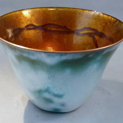 enamel on copper bowl