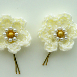 Two Cream Crochet Flower Hair Grips, Bobby Pins