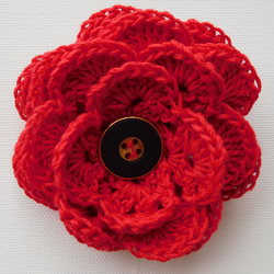 Red Flower Brooch, Corsage