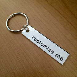 Set of Two Custom Handstamped Keychains - Customisable Gifts - Unique