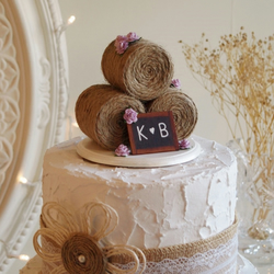Hay Bale Wedding Cake Topper