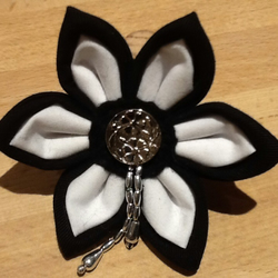Black & white fabric flower brooch pin corsage, handmade fashion for coat