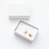 Gold and white tiny circle porcelain and sterling silver stud earrings