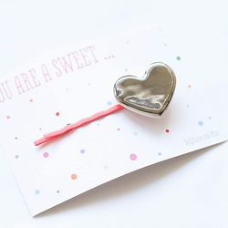 You are a sweet ....silver heart bobbypin