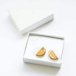 Gold and white geometric porcelain and sterling silver earrings
