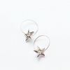 Silver porcelain stars and rose gold filled hoop earrings