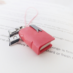 Small Pink Book Charm, Polymer Clay, Miniature, Handmade Charms, Novelty Gifts