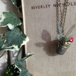 Faerie wing thimble pendant necklace