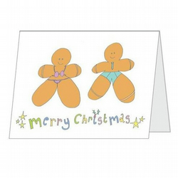 Charity Christmas Cards (Pk 4) 'Naughty Little Ginger Bread People!'