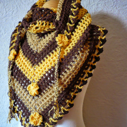 Womans Road Trip Scarf  Shawl in colors Brown Fawn and Saffron Yellow