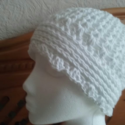 Beanie Hat made in White Cotton