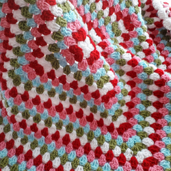 Baby Blanket, Granny Square Design Shades of Red and Pink