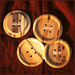 Giant wooden button 80mm yew