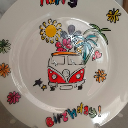 Hand painted VW Campervan Birthday plate personalised