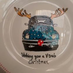 VW beetle Christmas plate personalised