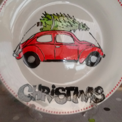 Hand painted VW Beetle Christmas tree plate personalised