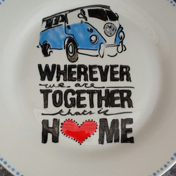 Hand painted VW Campervan Home plate personalised