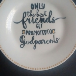 Hand painted Godparents side plate.