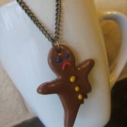 gingerbread man necklace, fimo/polymer clay