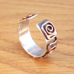 Spiral silver and copper ring, Adjustable spiral ring