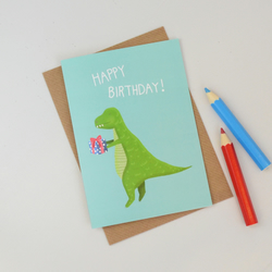 SALE Dinosaur Birthday Card, Childrens T Rex Birthday Card, Kids Card