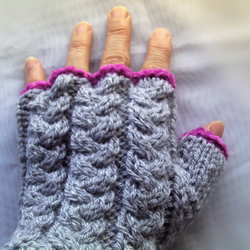 Grey and Pink Fingerless Gloves