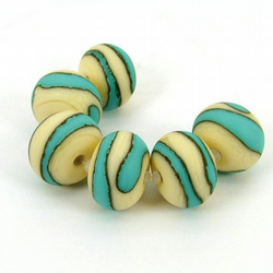 Handmade Lampwork Glass Beads - Etched Turquoise and Ivory
