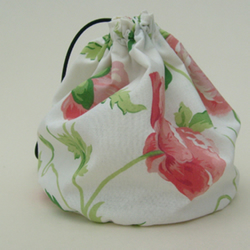 Hand made sock knitting / small project drawstring cosmetics bag.Rare Laura Ashely 'Poppies' fabric