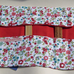 DPN double pointed knitting needle roll. Crochet hook roll. Red floral fabric. UK