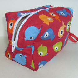 Red fish 'Tiddler' zippered project pouch / make up bag.