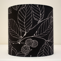 Handmade Lampshade - grey leaf
