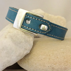 Distressed vintage leather and suede bracelet