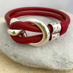 Leather bracelet with silver hook clasp
