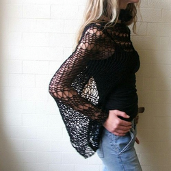 Black Eco Fairtrade Cotton Loose weave shrug
