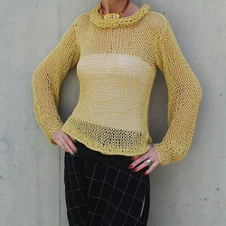 Yellow linen loose knit summer sweater, with gentle puff sleeves