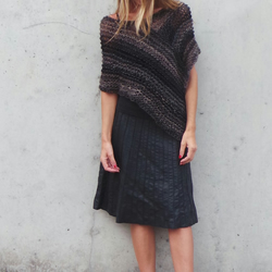 brown and black poncho