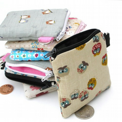 CUTE Coin Purse - Sleepy Owls - Japanese Fabric