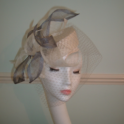 Handblocked Ivory Sinamay Pillbox Hat - Sinamay Petals & Grey Veil