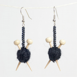 Black Yarn Knitting Earrings - Ball of wool and miniature knitting needles