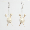 Sparkly White Ear Knits - Yarn ball earrings