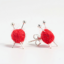 Mini Red Ball of Yarn and Knitting Needle Earrings