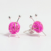 Sparkly Knitting Ear studs - Pink and gold earrings