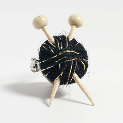 Sparkly Black Knitter's Brooch - Yarn and Needles