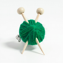 Green Knitter's Brooch - Ball of Wool and Knitting Needles