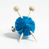 Sparkly Blue Knitter's Brooch - Yarn and Needles