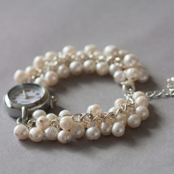 Bridal bracelet watch, Ivory freshwater pearls