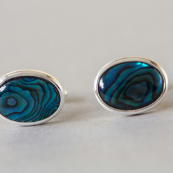 Blue Abalone cufflinks, Dark blue cuff links